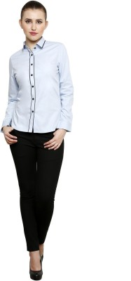 see Designs Women's Solid Casual Light Blue Shirt