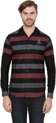 Alive Sport Men's Striped Casual Brown Shirt