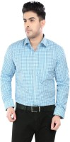 Salwar Studio Formal Shirts (Men's) - Salwar Studio Men's Checkered Formal Blue, White Shirt