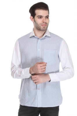 Reevolution Men's Striped Casual Blue, White Shirt