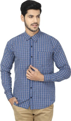 Trewfin Men's Checkered Casual Blue, White Shirt