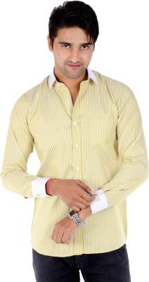 S9 Men's Solid, Striped Formal Light Green, White Shirt