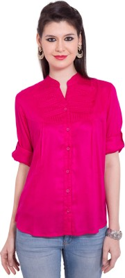Tuntuk Women's Solid Casual Pink Shirt