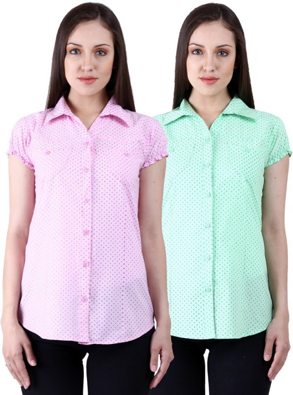 NumBrave Women's Solid Casual Pink, Green Shirt(Pack of 2)