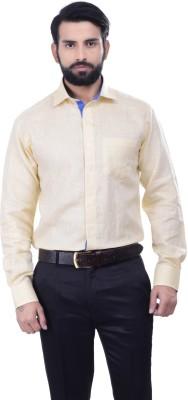 Alpha Centauri Men's Solid Casual Linen Yellow Shirt