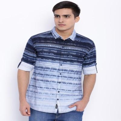 Le Bison Men's Printed Casual Blue Shirt