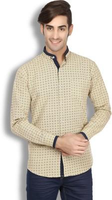 Goodkarma Men's Printed Casual Beige Shirt