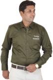 Ignu Men's Solid Casual Green Shirt