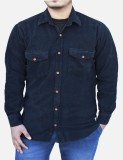 Yzade Men's Solid Casual Black Shirt