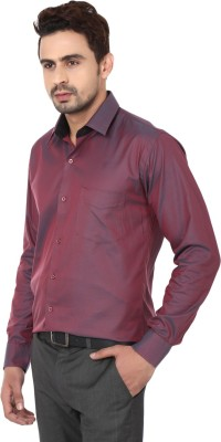 Hanu Men's Solid Casual Maroon Shirt