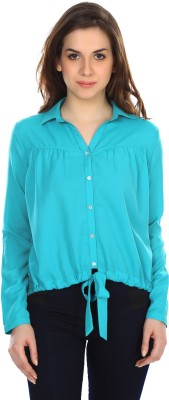 Colors Couture Women's Printed Casual Green Shirt