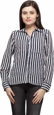 Color Cocktail Women's Striped Casual Dark Blue Shirt