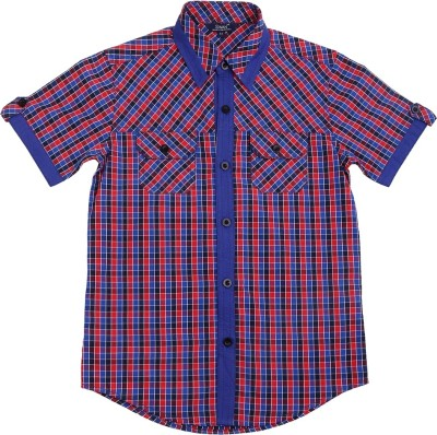 Swan Fashion Boy's Checkered Casual Reversible Blue, Red Shirt