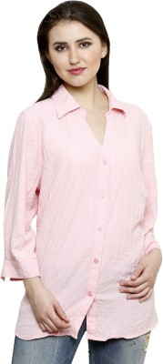 Lee Marc Women's Solid Casual Pink Shirt
