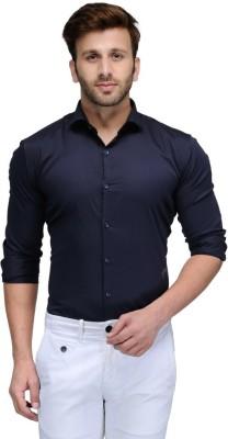 Edjoe Men's Solid Casual Dark Blue Shirt
