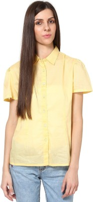 SHIBORI Women's Solid Casual Yellow Shirt
