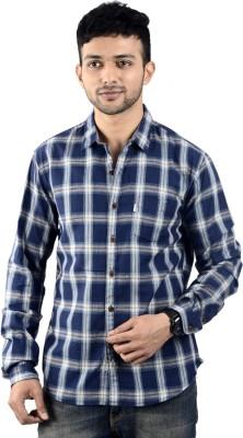 St. Germain Men's Checkered Casual Dark Blue Shirt