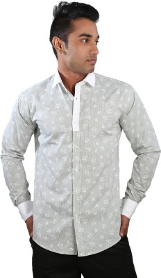 Just Differ Men's Floral Print Casual Green Shirt