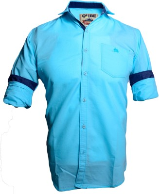 QUBE Men's Solid Casual Blue Shirt