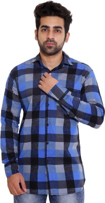 LIME TIME Men's Checkered Casual Blue Shirt