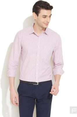 Coast Men's Striped Formal Red Shirt