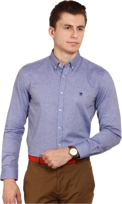 Oxford Club Men's Solid Casual Blue Shirt