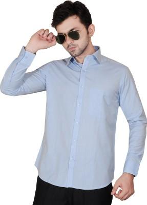 Fabrobe Men's Self Design Formal Light Blue Shirt
