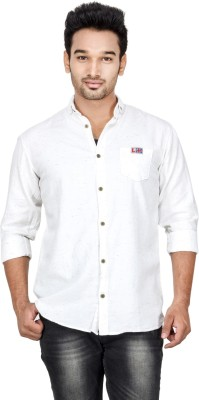 Loopy Men's Solid Casual White Shirt