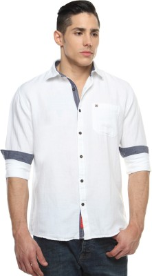 British Club Men's Solid Casual White Shirt