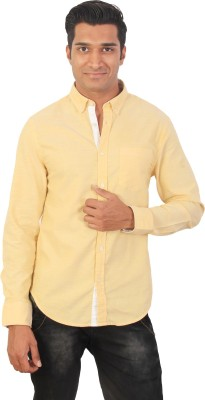 Tonyloom Men's Solid Casual Yellow Shirt