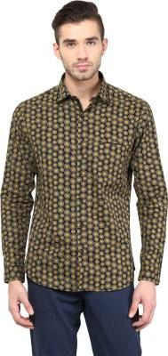 Invern Men's Self Design Casual Brown Shirt