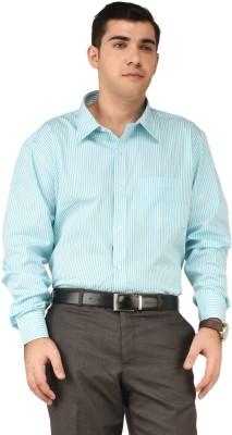 Hyphen Men's Striped Formal White, Green Shirt