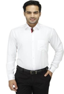 DA VINCI Men's Solid Formal White Shirt