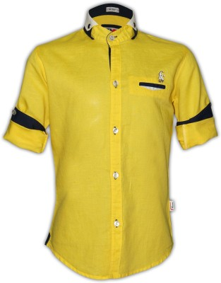 Fingerchips Boys Solid Party Linen Yellow Shirt