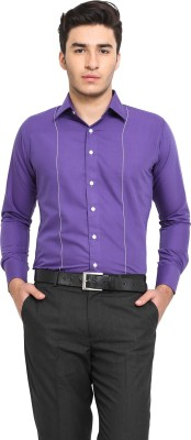 Protext Men,s Solid Casual Purple Shirt