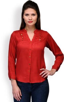 Purplicious Women's Solid Casual Orange Shirt