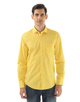 Monte Carlo Men's Printed Casual Yellow Shirt