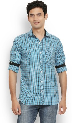 Orange Valley Men's Checkered Casual Blue Shirt