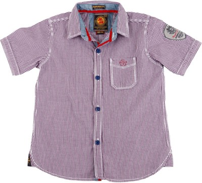 Jim & Jam Boy's Checkered Casual Purple Shirt