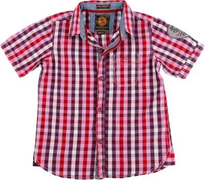 Jim & Jam Boy's Checkered Casual Red Shirt