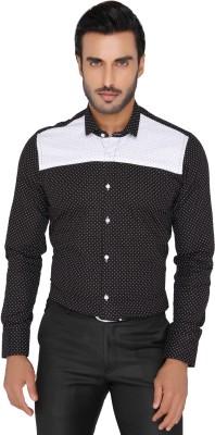Mode De Base Italie Men's Polka Print Casual Black Shirt