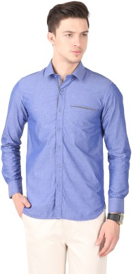 Cotton County Men's Solid Casual Blue Shirt