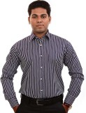 Iconic Men's Striped Formal Purple Shirt
