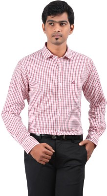 Stoff Men's Checkered Formal Red, White Shirt
