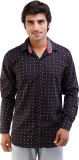 AR Fashions Men's Printed Casual Black S...