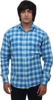Masculine Affair Formal Shirts (Men's) - Masculine Affair Men's Checkered Formal Blue Shirt