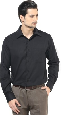 First Row Men's Solid Formal Black Shirt