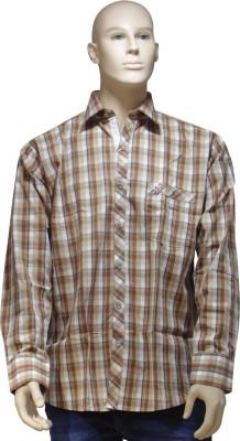 EXIN Fashion Men's Checkered Casual Brown, Beige Shirt