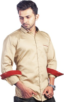 Bombay Casual Jeans Men's Solid Casual Beige Shirt