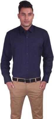 Jansons Men's Solid Formal Dark Blue Shirt